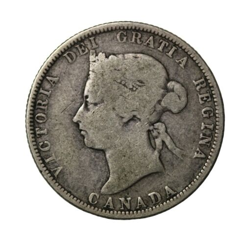 1882-H Canada Silver 25 Cents Twenty-Five Queen Victoria British Coin km#5