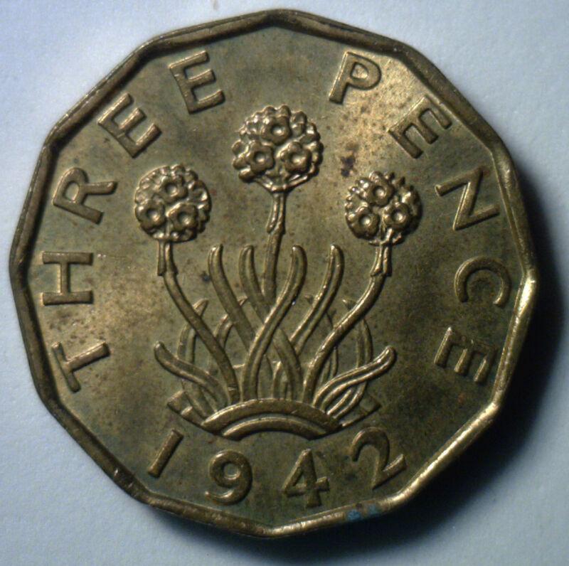 1942 Brass 3 Pence UK Britian Threepence Coin AU English
