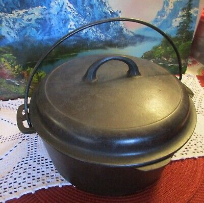 Vintage Unmarked Griswold Cast Iron No. 8 Dutch Oven with Self Basting Lid #1288
