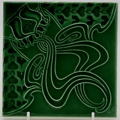 C1910 Art Nouveau Majolica Tile Rare Original Henry Richards