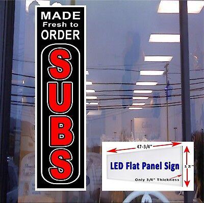 Subs Made Fresh To Order Led Illuminated Flat Panel Window Sign 48x12