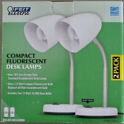 2 New FEIT Electric Compact Fluorescent Desk Lamps Compact Fluorescent Desk Lamp