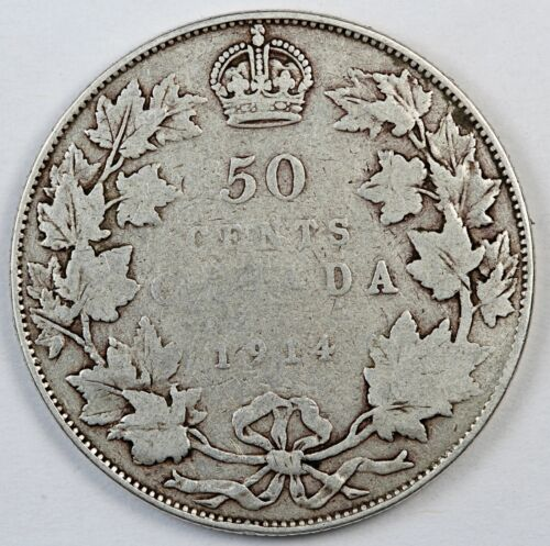 1914 Canada / Canadian Fifty Cents Half Dollar - VG Very Good Condition