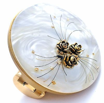 White Lucite Lipstick Mirror Hinged Compact Gold Roses & Enamel Vintage Purse