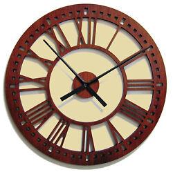 New   Contemporary  24  Mahogany  Skeleton  Tower  Wall  Clock