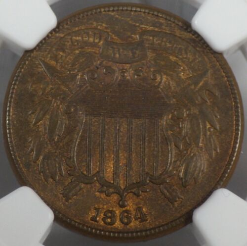 1864 Large Motto Two Cent Piece NGC graded MS 65 BN