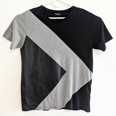 ZARA MAN Mens Size XL Extra Large Black Grey Gray Faux Leather T-Shirt