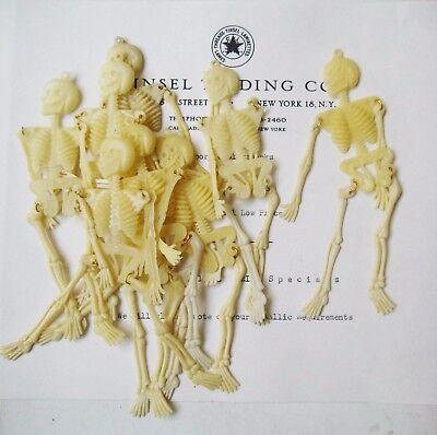 10 pcs  Vintage Halloween Plastic Skeletons - Movable Arms & Legs Original Stoc
