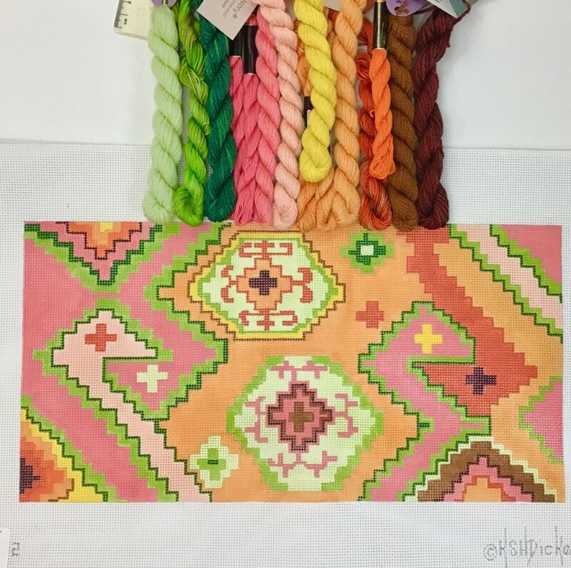 Kate Dickerson Hand painted Needlepoint Canvas Desert Sunset Kilim duckhead KIT