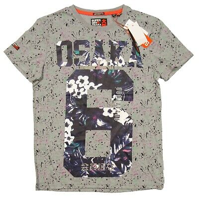 Superdry Men's Grey Marl Splatter Osaka 6 Lite Graphic Short Sleeve Shirt