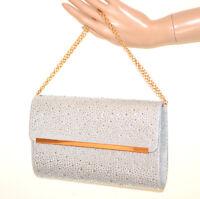 503057c33d POCHETTE ARGENTO donna borsello strass brillantini borsa cristalli elegante  G32
