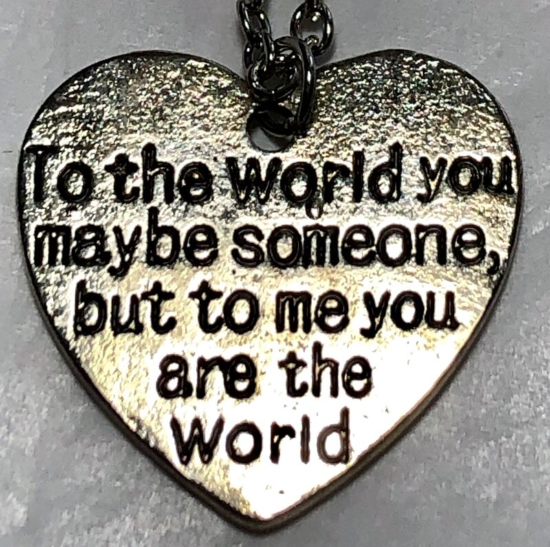 """Group Of 5 Stainless """"To The World"""" Heart Necklaces"""