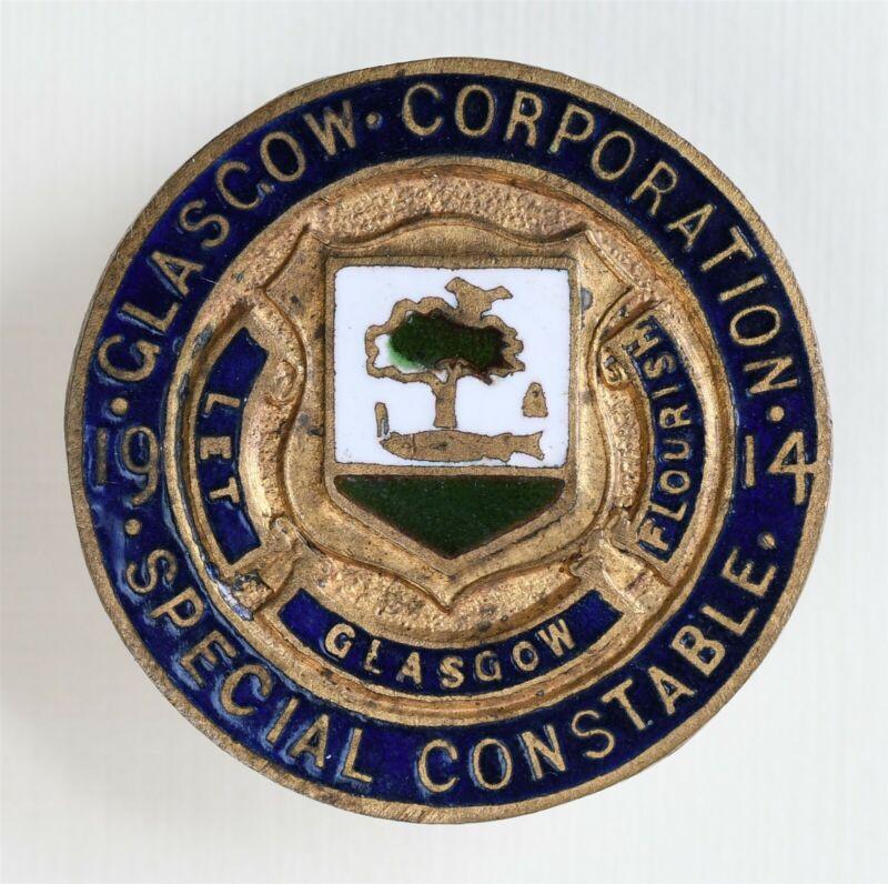 1914 Glasgow Corporation Special Constable Buttonhole Badge LET GLASGOW FLOURISH