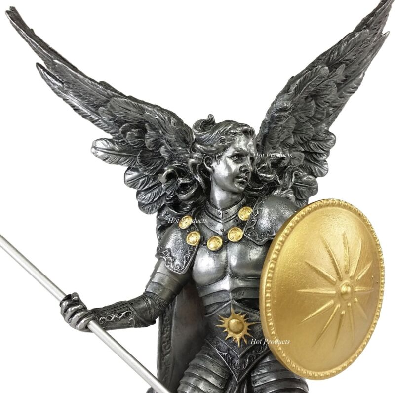 """13"""" SAINT RAPHAEL Archangel With Spear  Statue Pewter & Gold Finish St Angel"""