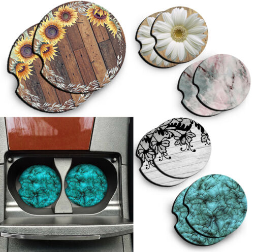 Rubber Car Coasters For Drinks Absorbent Car Cup Holder   Set Of 2