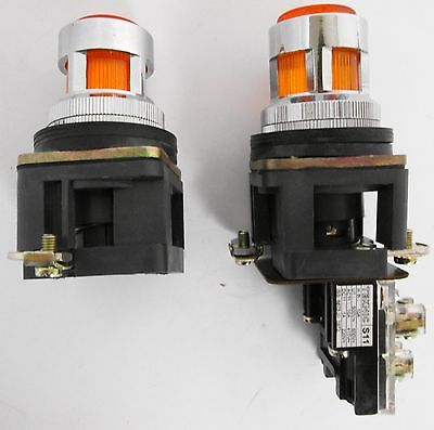 (2) Illuminated Push-Button Switches, one with Teknic S11 Contact Block Illuminated Push Button Switches
