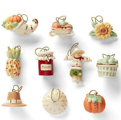 Lenox Autumn Favorites Miniature Tree Ornaments Set of 10 Fall Pumpkin NEW