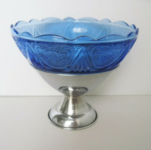 Hazel Atlas Cobalt Blue Royal Lace Glass Sherbet In Metal Holder Art Deco 1930s