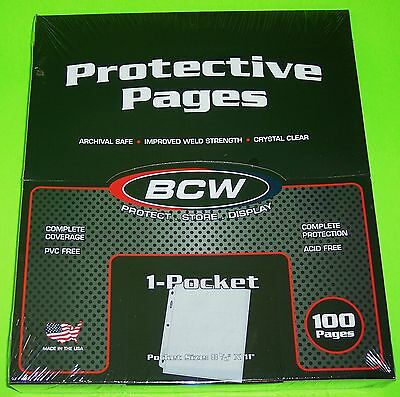 100 PRO 1-POCKET DOCUMENT PAGES, 8-1/2 X 11 POCKET, ARCHIVAL SAFE PAGES, BCW - $13.25