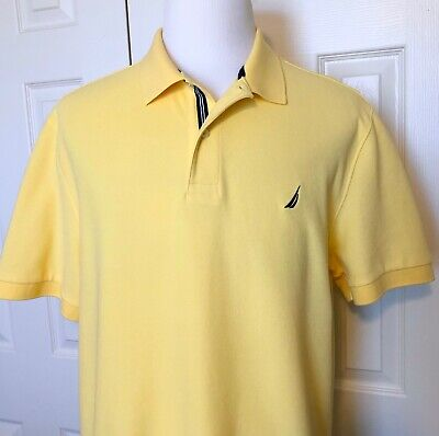 Nautica Performance Deck Shirt, Mens XL Classic Polo, Cotton Blend, Yellow, A+