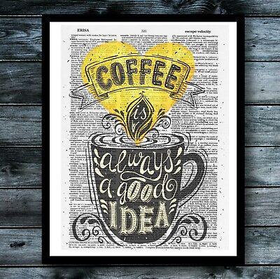 Coffee Vintage Dictionary Art Print Cute Kitchen Decor Chalkboard Typography](Chalkboard Decor)