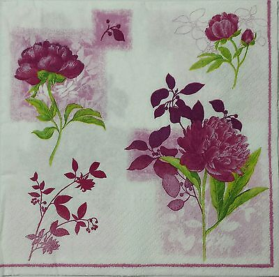 PEONIES  2 individual LUNCH SIZE paper napkins for decoupage 3-ply