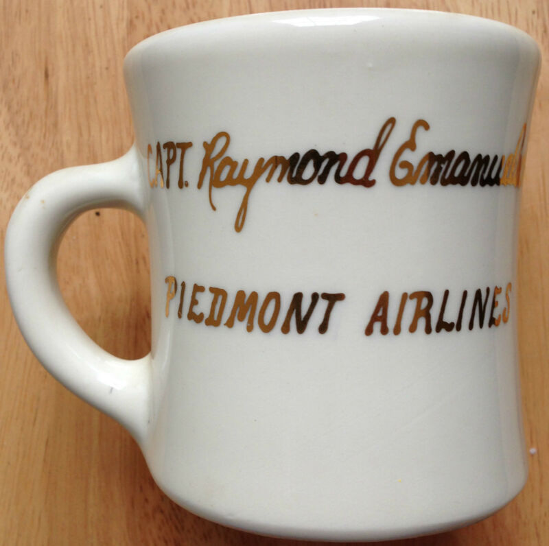 c. 1970s - 1980s PIEDMONT AIRLINES, CAPT. RAYMOND EMANUELSON COFFEE MUG, VINTAGE