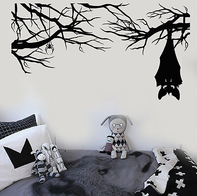 Vinyl Wall Decal Cartoon Gothic Spider Bat On Branch Halloween Stickers (2883ig)
