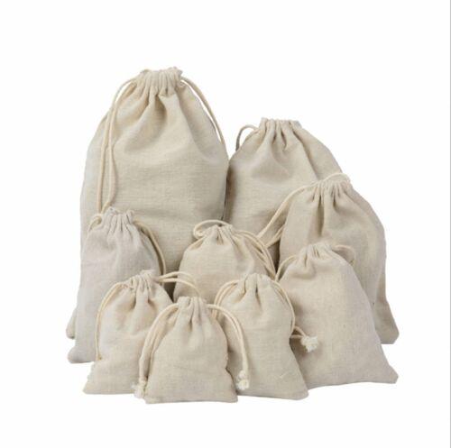 Cotton Linen Drawstring Sack Bag Food Clothes Outdoor Travel Casual Hand Bag Lot
