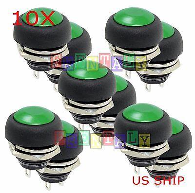 Green 10x Pcs M4 12mm Waterproof Momentary Onoff Push Button Round Spst Switch