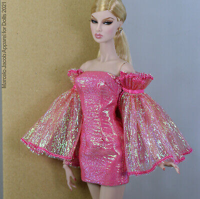 PINK DRESS FITS BARBIE SILKSTONE,POPPY PARKER,FASHION ROYALTY, NUFACE