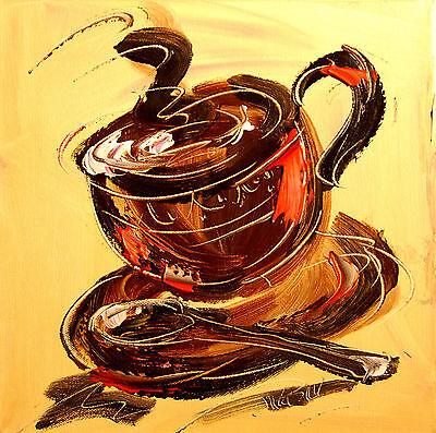 Mark Kazav COFFEE TIME  Large Abstract Modern Original Oil Painting  0EE45Y