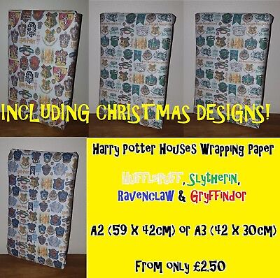 HARRY POTTER Wrapping Paper - inc CHRISTMAS!  Houses Magical