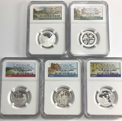 2019 S PROOF SILVER QUARTER SET NGC PF70 UC 5 COIN FIRST .999 FINE ATB PARKS LBL