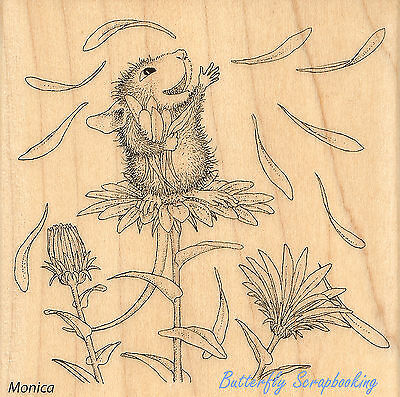 (HOUSE MOUSE Flower She Loves Me Wood Mounted Rubber Stamp STAMPENDOUS HMQ05 New)