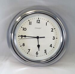 """CHANEY 10"""" Silver Metal with Glass Wall Clock AA Battery Retro Look!"""