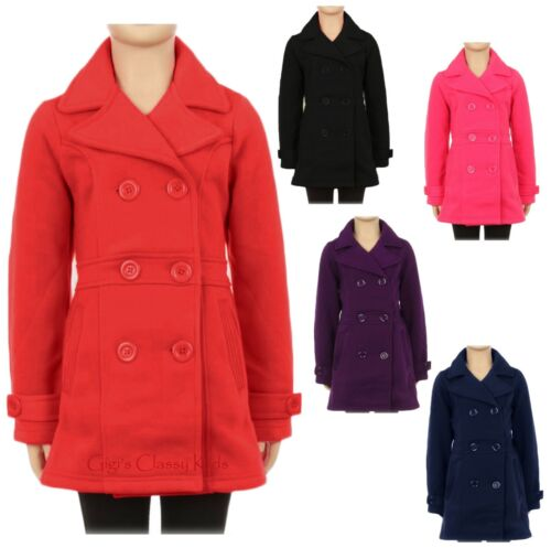 New Girls Double Breasted Pea Coat Winter Fall Kids Holiday Warm Sz 6 8 10 12