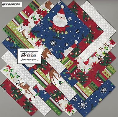 """25~5"""" Christmas Santa_Deer Fabric Squares/Quilt/Craft/Sewing/Charm Pack #5883"""
