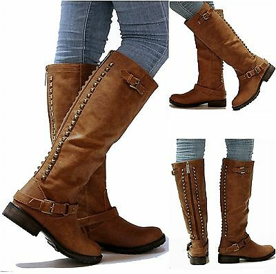 New Womens OT14 Tan Gold Studded Knee High Riding Boots Sz 5.5 to ...