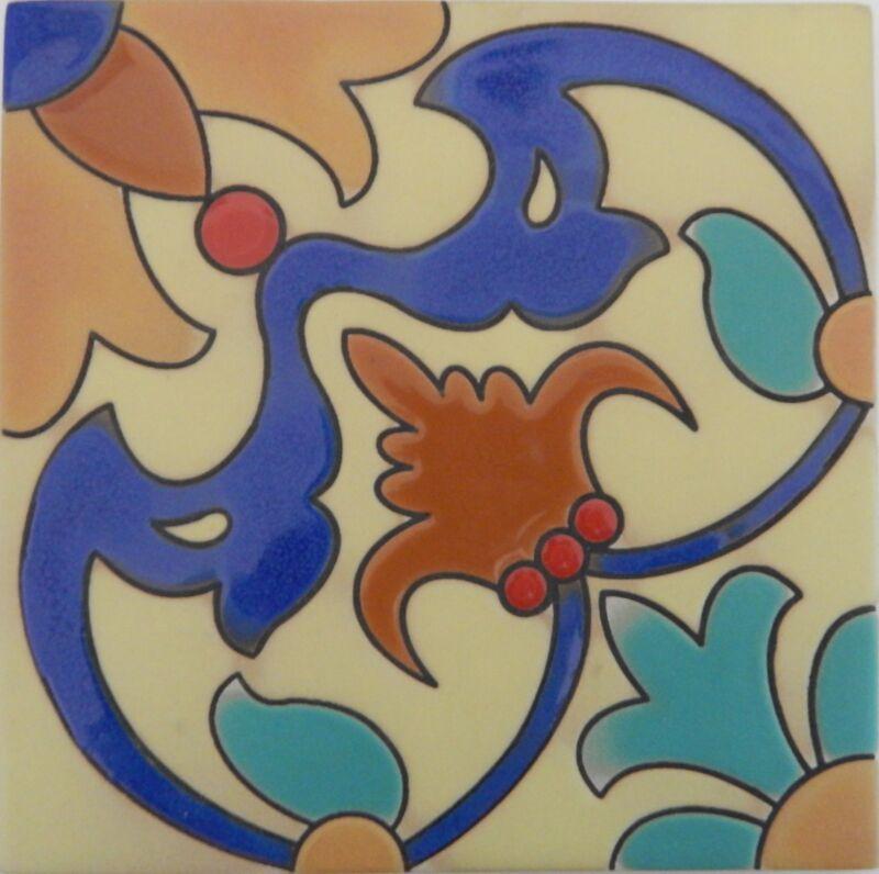 Mexican Tiles High Relief Ceramic Cuerda Seca Malibu Santa Barbara Tiles 6x6 604