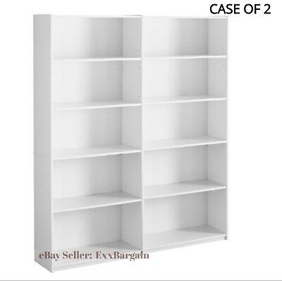 Bookcase Wide 5 Shelf Set of 2 Pcs Adjustable Wood Bookshelf Storage, White 2 Shelf Mdf Bookcase
