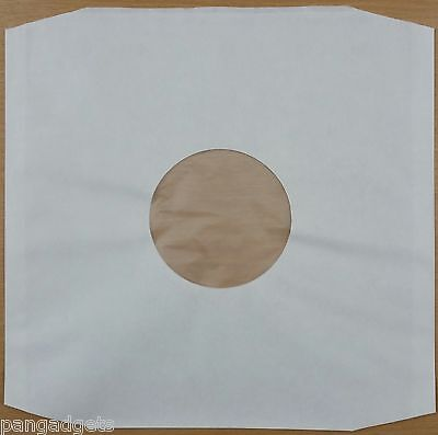 """12"""" Polylined White Inner Paper Record Sleeves x 50"""