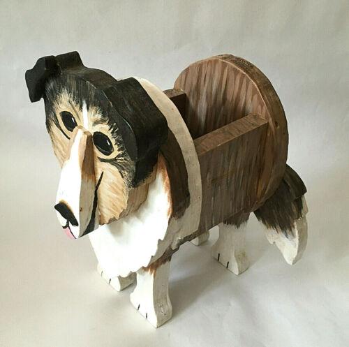 Wooden COLLIE Dog Figural Planter Hand Made Wood Folk Art Primitive