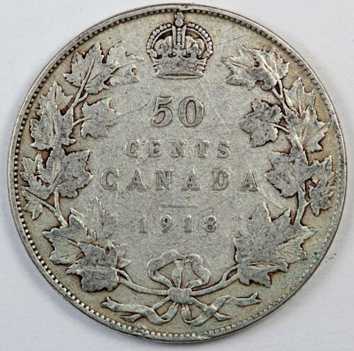 1918 Canada / Canadian Fifty Cents Half Dollar - VG Very Good Condition