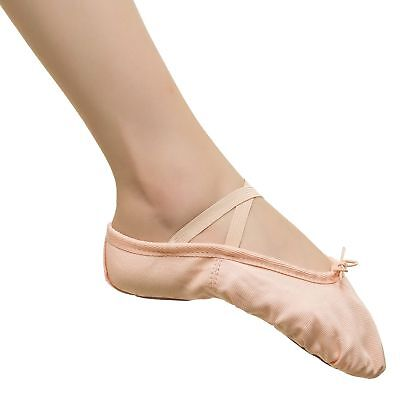 Toddler Girl  Ballet Dance Slipper Split Leather Sole Classic Canvas Shoes  - Girls Leather Ballet Shoes