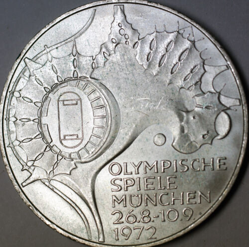 1972 J German 10 Marks Silver Coin Olympic Games Commemorative Map AU- BU