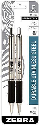 Zebra Ballpoint Pens F402 Black Ink Fine 0.7mm Point Durable Stainless Steel 2pk