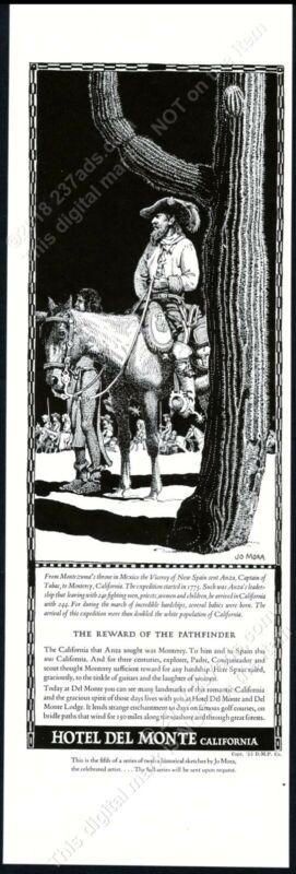 1934 Hotel Del Monte Juan Bautista de Anza horse Jo Mora art vintage print ad