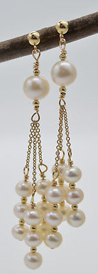 New 14K Solid Gold Cultured Natural White Pearl Chandelier Earrings