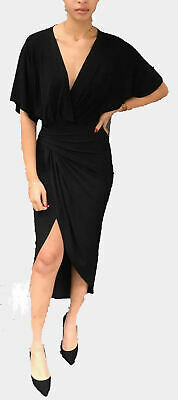 JOHN ZACK BLACK PLUNGE V NECK KIMONO STYLE WRAP DRESS